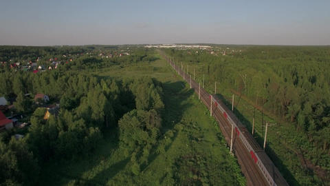 Train in the countryside, aerial view Live Action