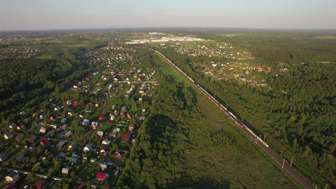 Russian countryside and railway, aerial view Footage