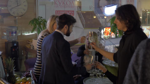 Drink reception at products presentation Footage