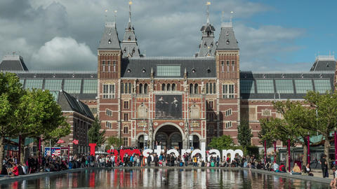 Timelapse of people near Rijksmuseum, Amsterdam Footage