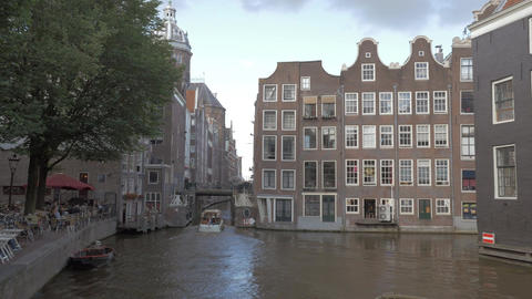 Amsterdam scene with sailing boats Footage