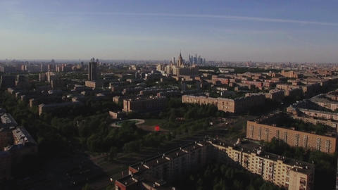 Aerial Moscow cityscape, Russia Footage
