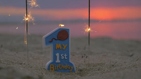 Candle for baby boy first birthday Footage