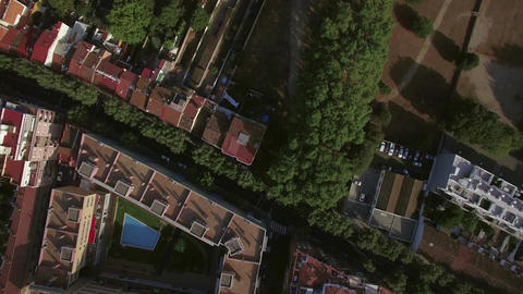 Aerial view of roofs of buildings, Barcelona, Spain Live Action