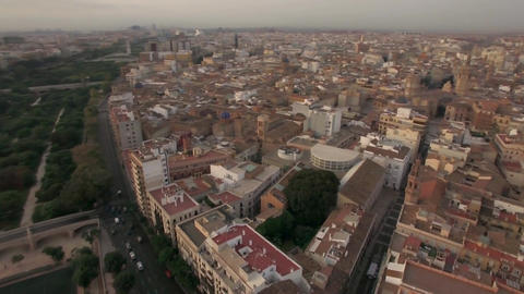 Aerial morning flight above Valencia, Spain Live Action