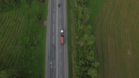 Aerial bird eye top view of road in countryside, Russia Image