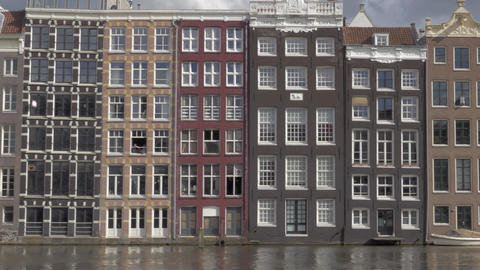 View of old buildings in the city center. Amsterdam, Netherlands Live Action