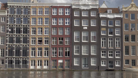 View of old buildings in the city center. Amsterdam, Netherlands Footage