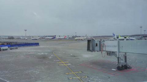 Timelapse at Domodedovo airport seen planes and take-off area, passing vehicles Footage