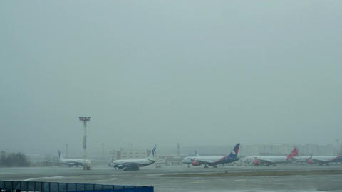 Timelapse of Domodedovo Airport on winter day, Moscow Footage