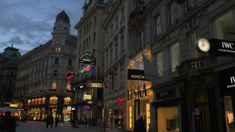 People in shopping street of Vienna at night, Austria Live Action