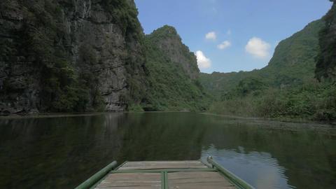 Water scene with limestone mountains in Ha Long Bay, Vietnam Footage