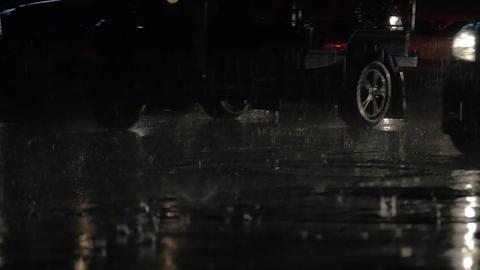 Car traffic at rainy night Footage