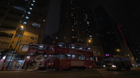 Transport on night road of Hong Kong Footage