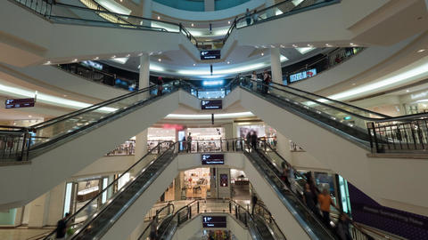 Timelapse of customers traffic in shopping mall Footage