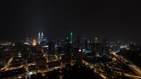 Timelapse of night illuminated Kuala Lumpur, Malaysia Footage