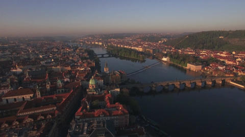 Aerial view of the old part of Prague and bridges over the Vltava river at sunri Footage