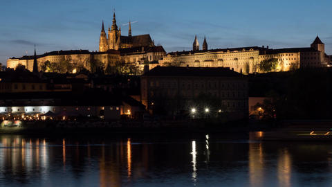 Timelapse of ships on river near Prague Castle at night Live Action