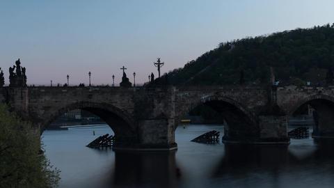 Time lapse shot of the Charles Bridge, Prague, Czech Republic Footage