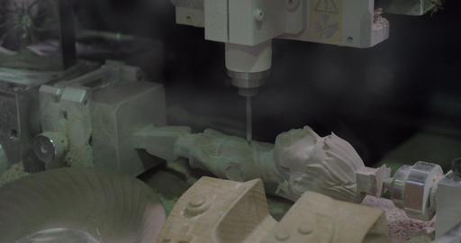 View of mechanism in process making 3d sculpture with stone Filmmaterial