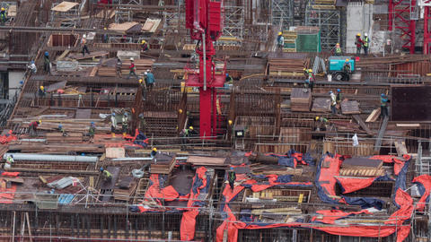 Timelapse of builders working on construction site Footage