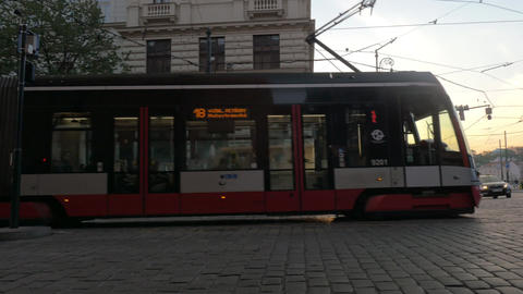Modern tram in Prague street, Czech Republic Footage