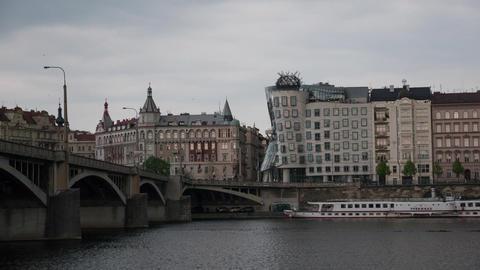 Timelapse shot of Prague cityscape from river. Prague, Czech Republic Footage