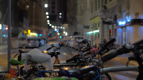 Bicycles in night street of Vienna, Austria Live Action