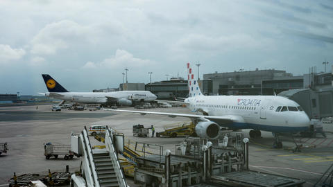 Timelapse of servicing airplanes in Frankfurt airport Footage