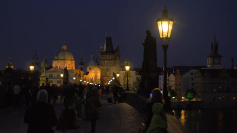 Evening cityscape with walking people on the picturesque… Stock Video Footage