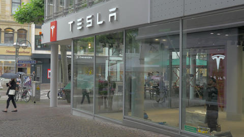 Tesla Store and Service Centre in Frankfurt, Germany Footage