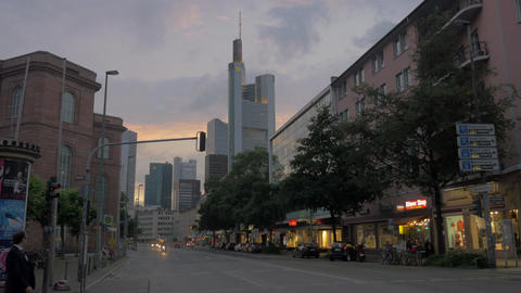 Street in evening Frankfurt, Germany Footage
