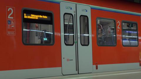 Closing automatic doors of subway train in Frankfurt Footage