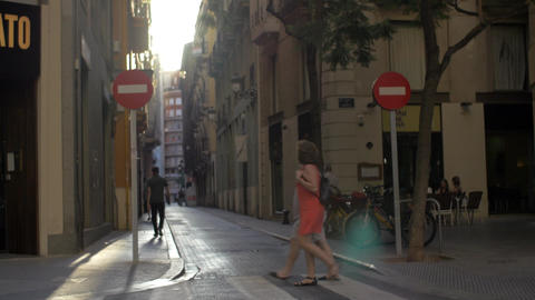 View to small cobbled street in Valencia, Spain Footage