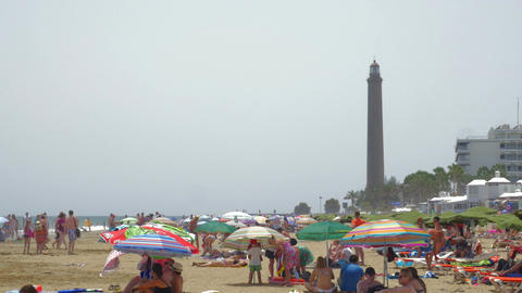 Crowded beach on Gran Canaria Footage