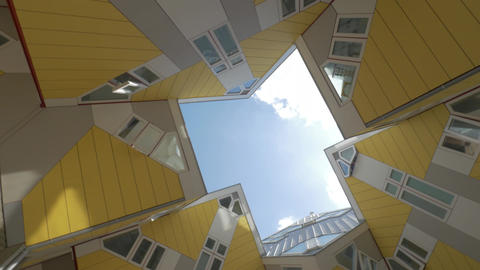 Cube Houses in Rotterdam, view from beneath Footage