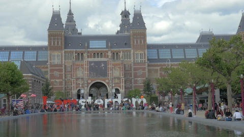 View of National Museum Rijksmuseum at the Museumplein,... Stock Video Footage