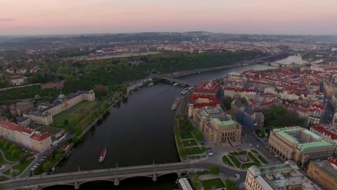 Aerial view along Vltava river in the summer. Prague, Czech Republic Image