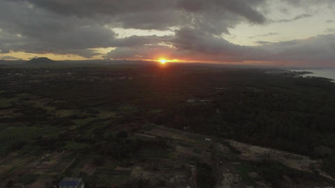 Sunset over Mauritius Island, aerial shot Footage