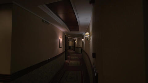 View of round hotel corridor with lighted lamps Stock Video Footage