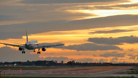 Commercial Aircraft Landing at Barcelona Airport at Sunset Live Action