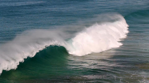 Atlantic ocean waves run onto coast line in Fuerteventura, Canary Islands Footage