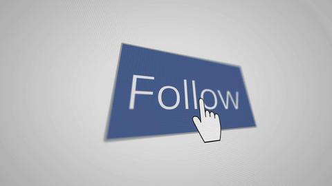 A blue button follow and hand cursor Animation