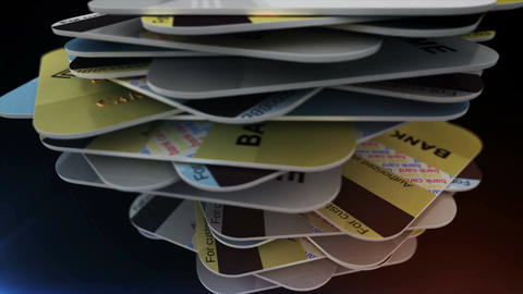 A pile of credit cards Stock Video Footage