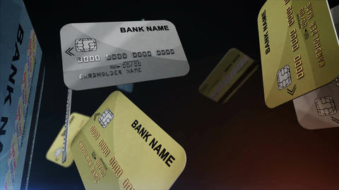 Credit cards hanging in the air Animation
