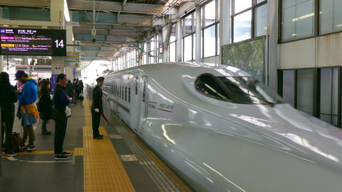 Shinkansen Bullet Train In Railway Station In Hiroshima Japan Asia Footage