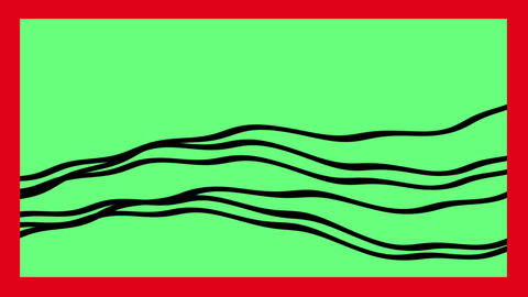 black Line wave on green screen with red frame Animation