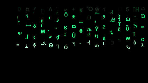 Numbers and strange letters with matrix style motion…, Stock Animation