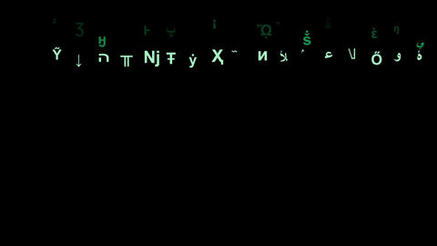Numbers and strange letters with matrix style motion animation Animation