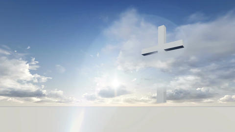 white cross with time lapse motion clouds against a deep blue sky Animation
